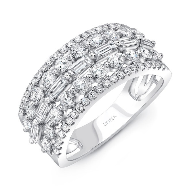 Uneek Baguette And Round Diamond Wide Band In 14k White Gold