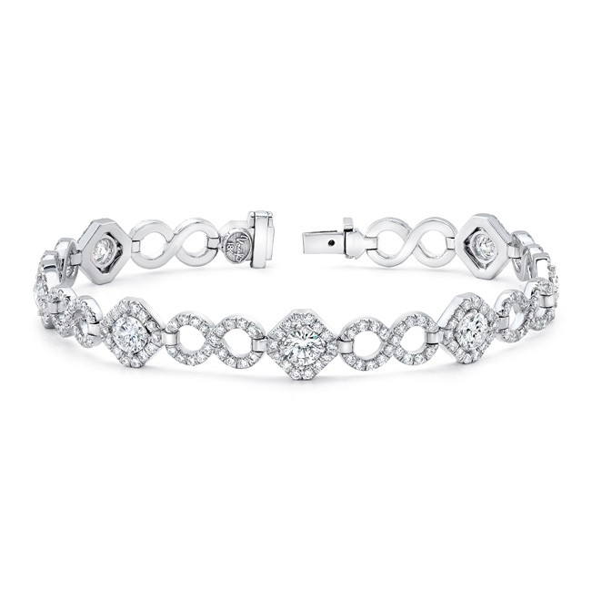 Uneek Round Diamond Bracelet with Infinity-Style Pave Links
