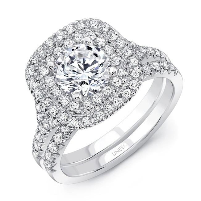 b14fb213c9c2cc Uneek Round Diamond Engagement Ring with Cushion-Shaped Double Halo,  Filigree Detail and