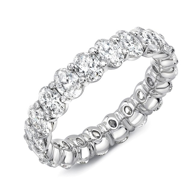 Uneek Oval Diamond Eternity Band, Platinum