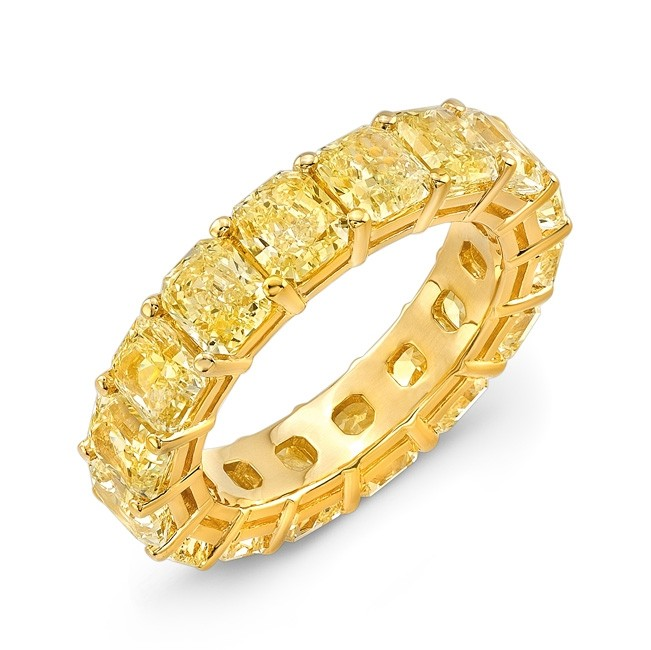 Uneek Radiant Cut Fancy Yellow Diamond Eternity Band, 18K Yellow Gold