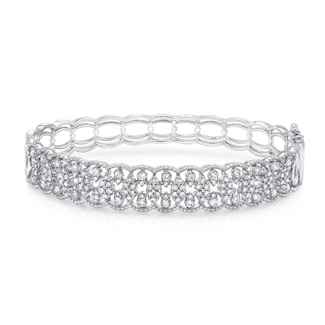 "Uneek ""Broderie Anglaise II"" Open Lace Diamond Bangle Bracelet in 14K White Gold"