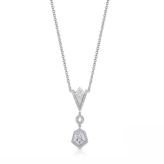 Uneek LVN221 Art Deco-Inspired Diamond Drop Pendant