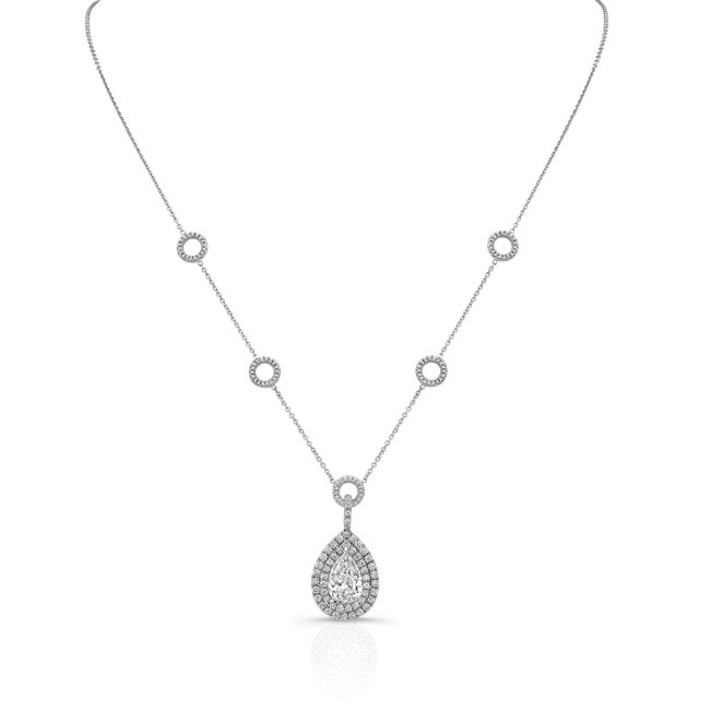 eeac0d89d60ae Uneek Pear-Shaped Diamond Pendant Necklace with Double Halo and Pave ...