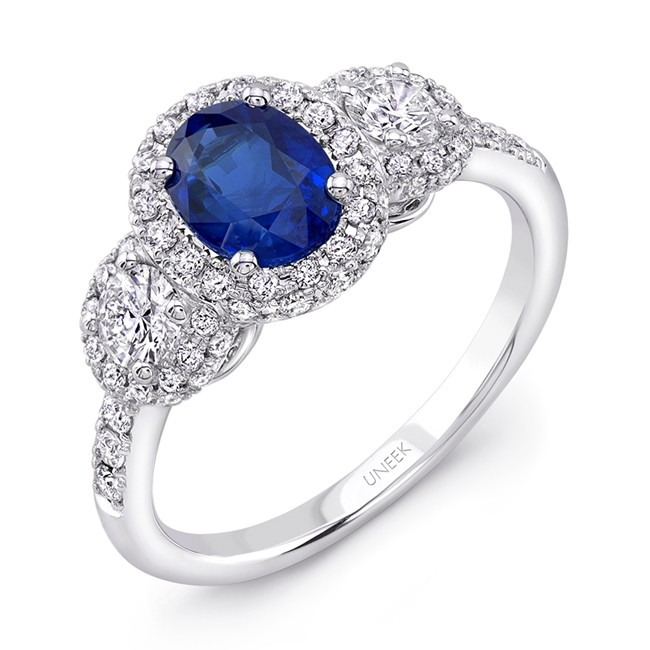 Uneek Oval Sapphire-Centered Three-Stone Engagement Ring with Round Diamond Sidestones