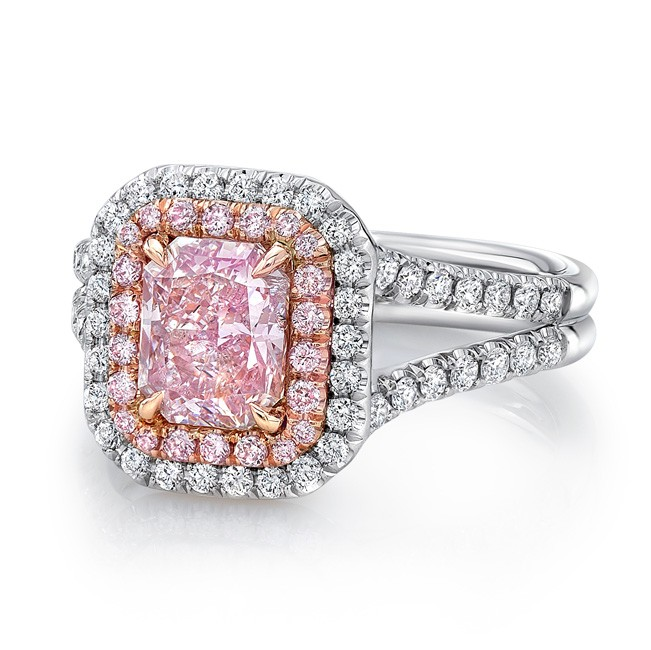 2a980426ad4 Uneek Radiant Pink Diamond Engagement Ring with Split Upper Shank ...