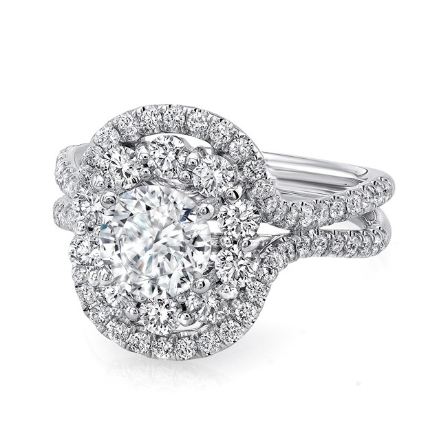 Uneek LVS1002DRD Round Diamond Engagement Ring with Oval-Shaped Mixed Double Halo and Pave Double Shank