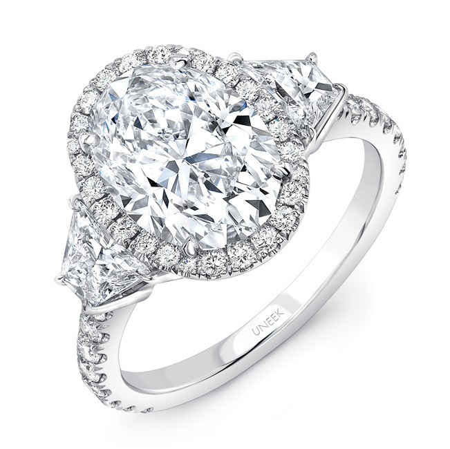 a814548be04812 Uneek LVS1007OV Three-Stone Engagement Ring with 3-Carat Oval Center on Halo