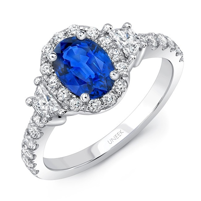 Uneek Contemporary Oval Blue Sapphire-Center Three-Stone Engagement Ring