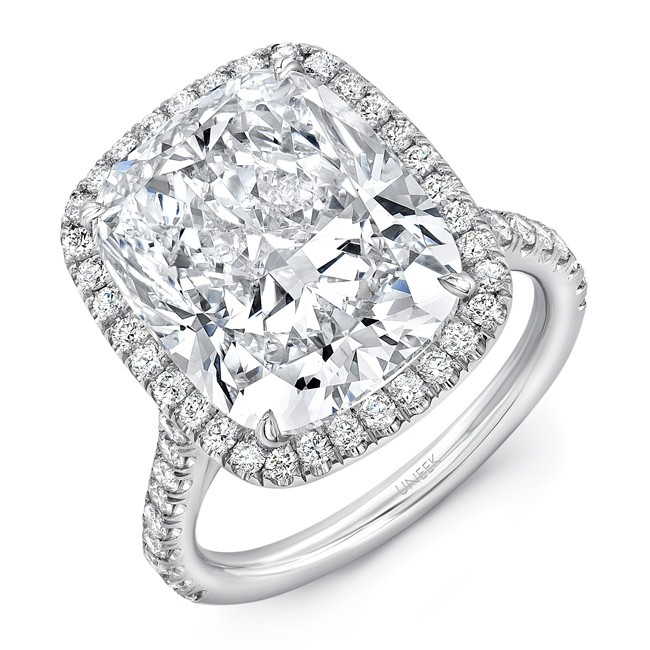 Uneek 10-Carat Cushion Cut Diamond Halo Ring, in Platinum