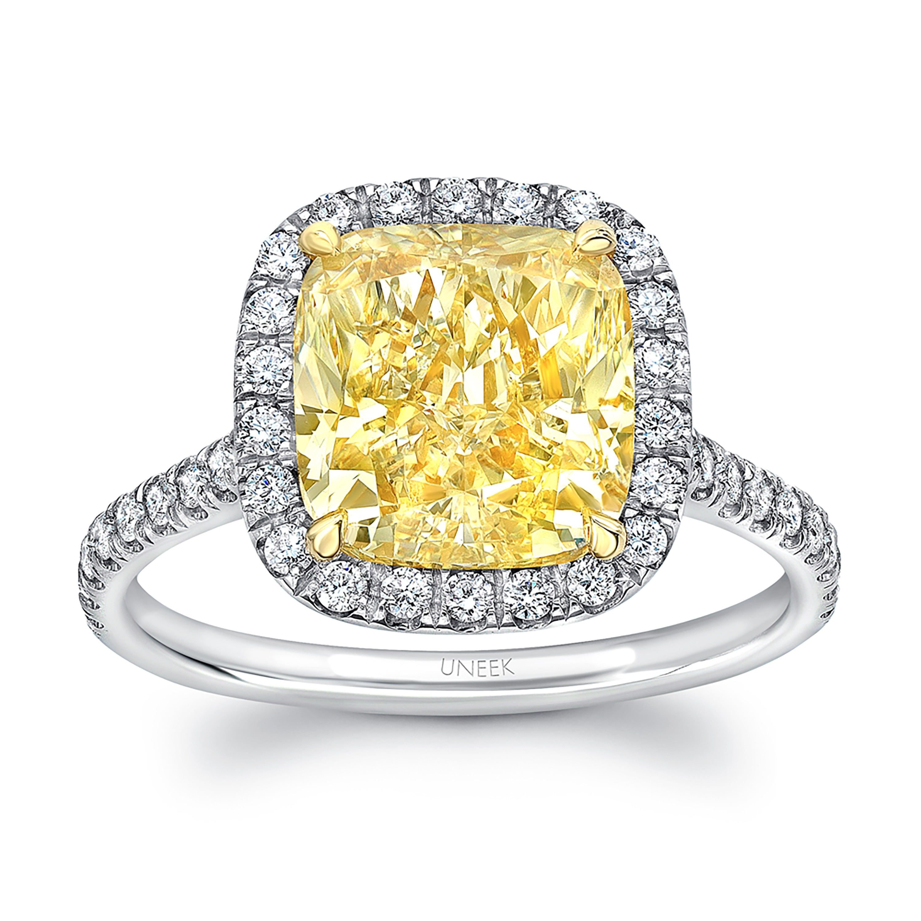 Uneek Classic Cushion Cut Fancy Yellow Diamond Halo Engagement Ring