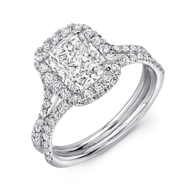 Elongated Cushion Cut Diamond Halo Engagement Ring With Pave
