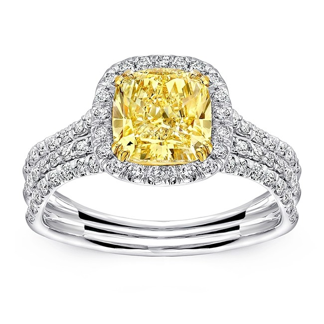 Uneek Cushion-Cut Yellow Diamond Halo Engagement Ring With