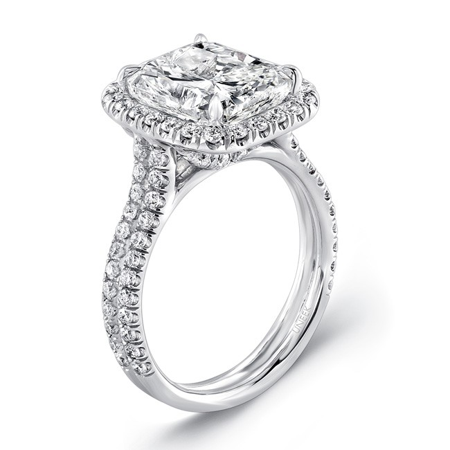 Uneek 5 Carat Cushion Cut Diamond Halo Engagement Ring With Pave