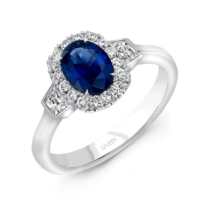 Uneek Oval Blue Sapphire and Trapezoid Diamond Three-Stone Ring