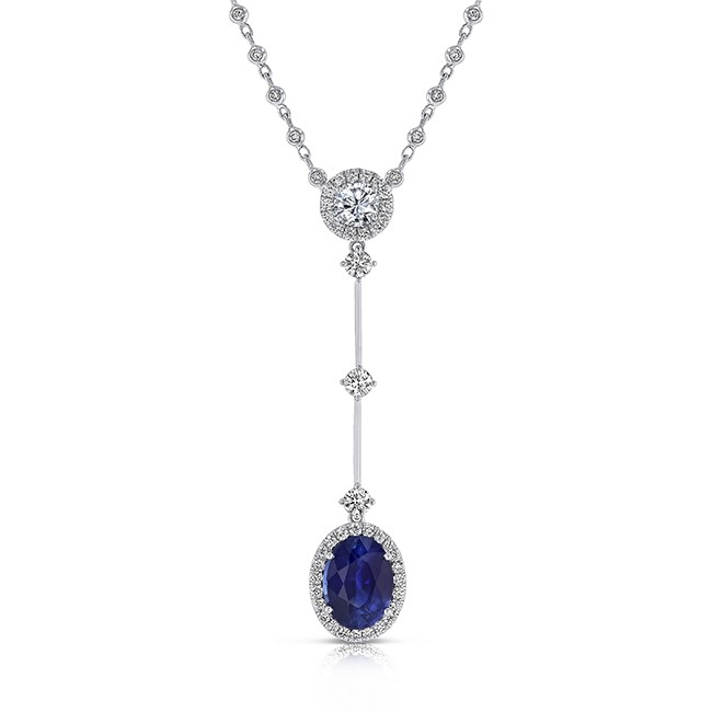 a5a19a333cfe39 Uneek Oval Blue Sapphire Y Pendant Necklace with Accent Round Diamonds, 18K  White Gold