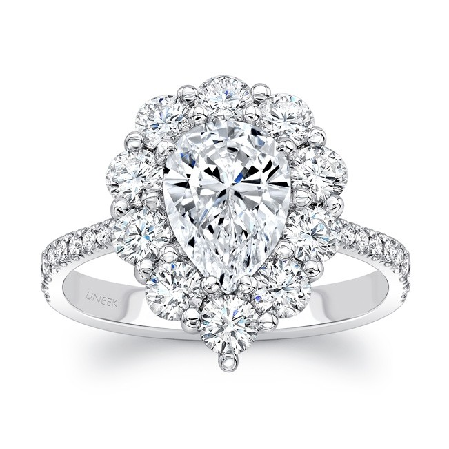 12d6607e7ee45 Uneek Pear-Shaped Diamond Engagement Ring with Scallop-Inspired ...