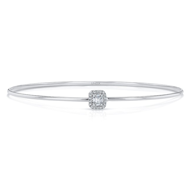 """Uneek """"Linden"""" Skinny Bangle with Emerald-Shaped Diamond Cluster and Halo Accent, White Gold"""
