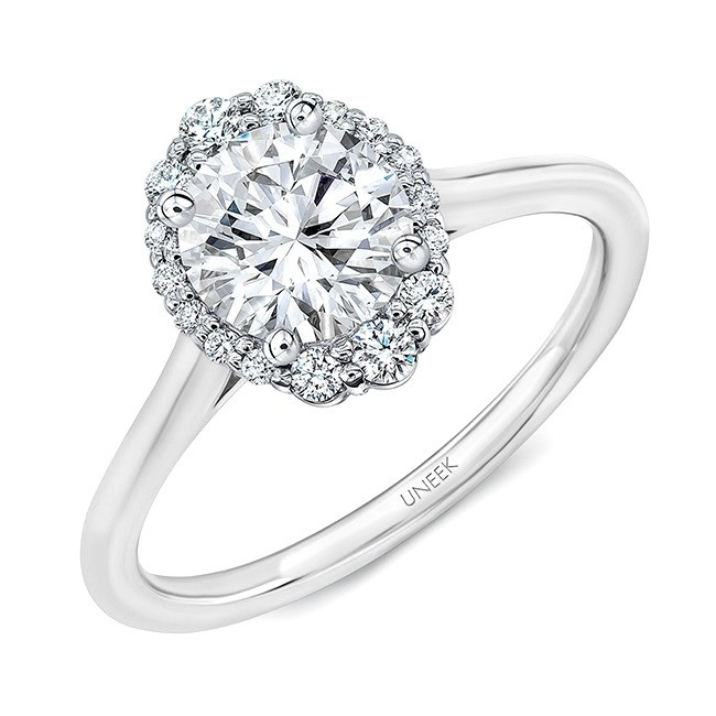 Uneek Round Diamond Engagement Ring with Oval-Illusion Halo, in 14K White Gold