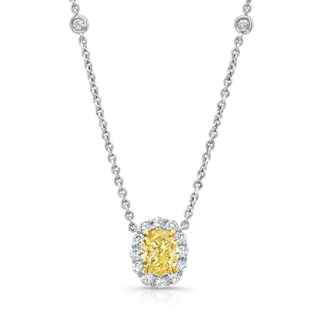 Uneek Oval Fancy Yellow Diamond Pendant with Round Diamond Halo and Bezel Chain Accents, 18K Gold