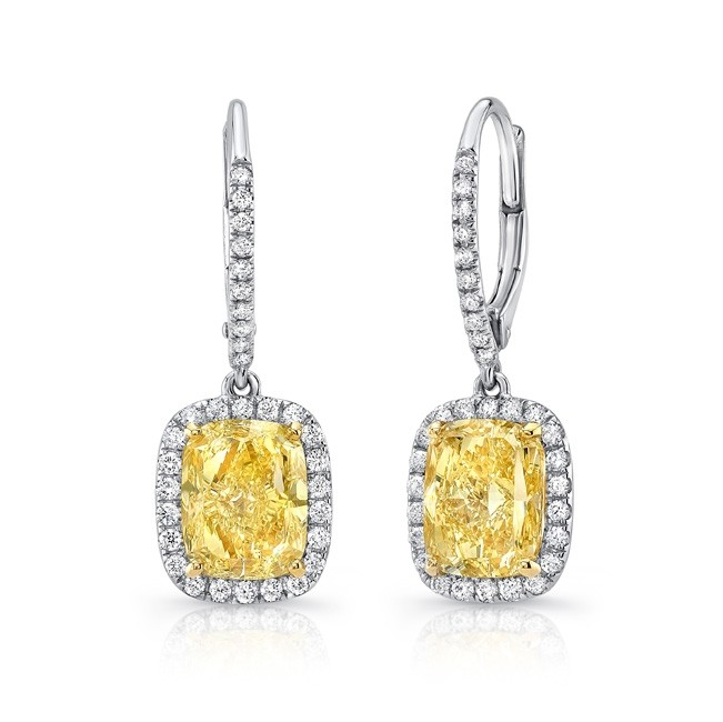 Uneek Elongated Cushion Cut Fancy Yellow Diamond Dangle