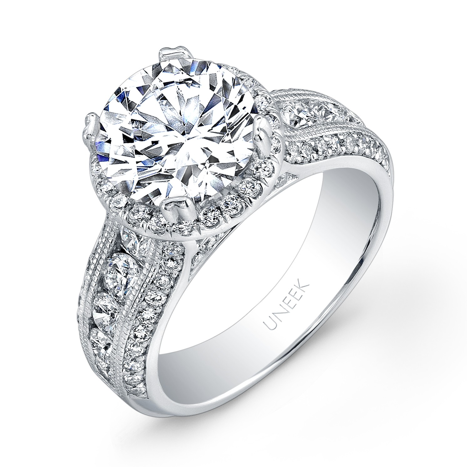 Uneek Round Diamond Wide Band Halo Engagement Ring With Milgrain