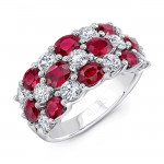 Uneek Oval Ruby and Round Diamond Three-Row Band, 18K White Gold