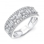 Uneek Baguette and Round Diamond Anniversary Band, in 14K White Gold