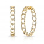 "Uneek ""La Mirada"" Inside-Out Diamond Hoop Earrings, White Gold version"