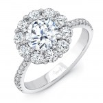 Uneek Round Diamond Engagement Ring with Floral-Inspired Shared-Prong Diamond Halo