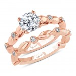 Uneek Round Diamond Cathedral Setting Engagement Ring and Matching Wedding Band, with Bezel Accents and High-Polish Navette-Shaped Beads, Rose Gold