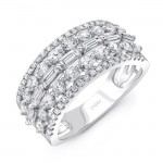 Uneek Baguette and Round Diamond Wide Band, 14K White Gold