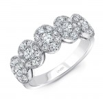 Uneek Round Diamond Band with Oval-Shaped Halos, 18K White Gold