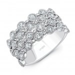 "Uneek ""Bobbinet"" 4-Row Diamond Band, 14K White Gold"