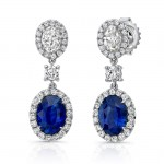 Uneek Oval Blue Sapphire and Oval Diamond Dangle Earrings, 18K White Gold