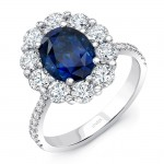 Uneek Oval Blue Sapphire Ring with Scallop-Style Diamond Halo and Tapered Shank