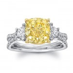 "Uneek Three-Stone Engagement Ring with Cushion-Cut Fancy Yellow Diamond Center and Pave ""Silhouette"" Double Shank, in Platinum and 18K Yellow"