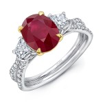 "Uneek Ruby-and-Diamond Three-Stone Ring with Oval Ruby Center and Pave ""Silhouette"" Double Shank"
