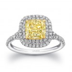 Uneek LVS926 Cushion-Cut Fancy Yellow Engagement Ring with Double Halo