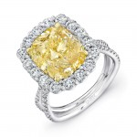 Uneek LVS966 Cushion-Cut Yellow Diamond Engagement Ring with Scalloped Halo