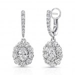 Uneek Oval Diamond Drop Earrings with Scallop-Illusion Diamond Halos, 18K White Gold