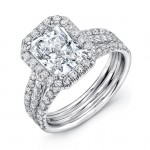 Uneek Radiant Diamond Halo Engagement Ring with Pave Triple Shank, 14K White Gold