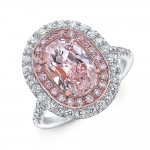 Uneek Cushion Light Pink Diamond Engagement Ring SI1 GIA Certified with Pink and White Diamond Side Stones, in Platinum