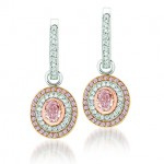 Uneek 18K White and Rose Gold Pink and White Diamond Oval Earrings LVE075