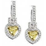 Uneek 18K White Gold Yellow Heart Shape Diamond Earrings LVE090