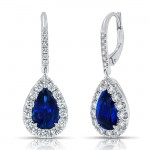 Uneek Pear-Shaped Blue Sapphire Dangle Earrings with Pave Diamond Halos, 18K White Gold
