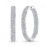 18K White Gold Diamond Hoop Earrings LVES01