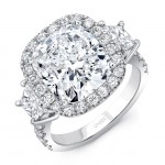 Uneek Contemporary Three-Stone Engagement Ring with Cushion-Cut Diamond Center, in Platinum