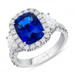 Uneek Cushion Cut Blue Sapphire Engagement Ring, in Platinum