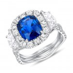Uneek Cushion Cut Blue Sapphire Engagement Ring, in 18K White Gold